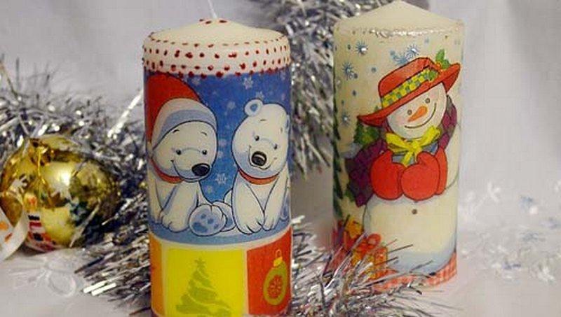 Свечи со снеговиком и медвежатами