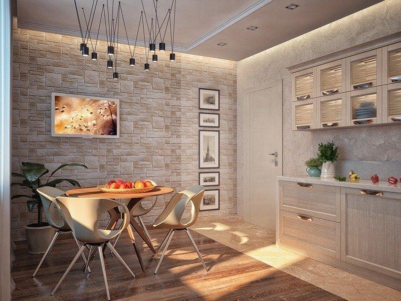Плитка под камень в интерьере кухни