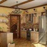 Плитка и обои на стенах кухни