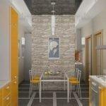 Бело-оранжевая кухонная мебель