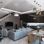 Кухня-гостиная в двухэтажном доме