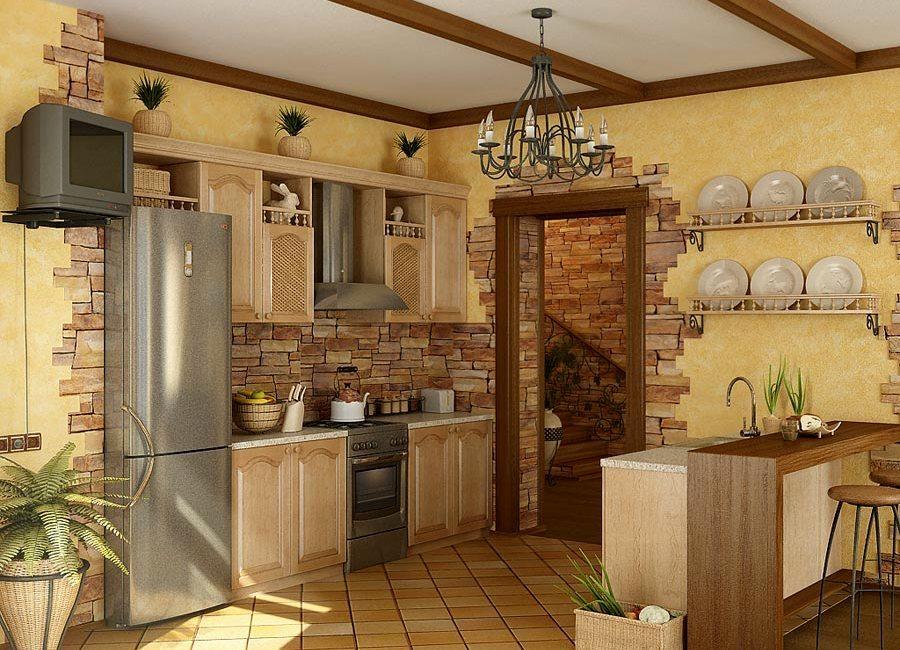 Комбинирование обоев с плиткой под камень на кухне