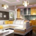 Интерьер кухни-гостиной со стильной мебелью