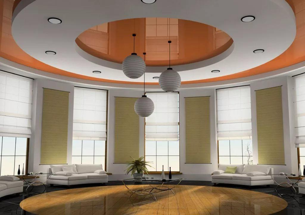 Дизайн потолка в зале: натяжные, гипсокартонные 60 фото примеров