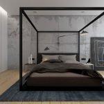 Серый потолок в декоре спальни