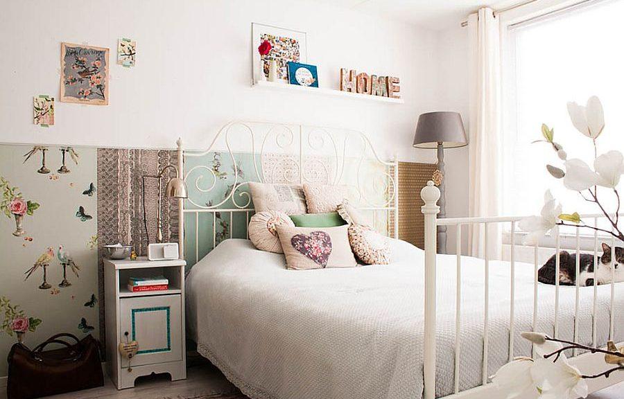 Белые стены в семейной спальне