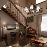 Светильники и телевизор на стене в гостиной
