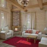 Сочетание белой мебели и малинового ковра в интерьере