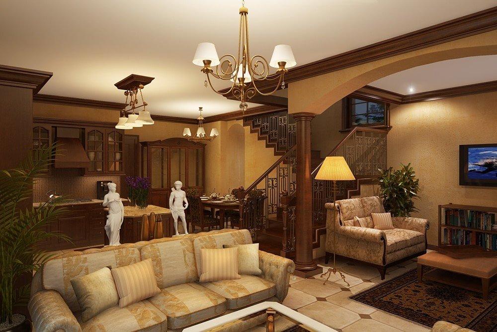 Зонирование гостиной в загородном доме