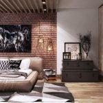 Модульная картина с конем на кирпичной стене