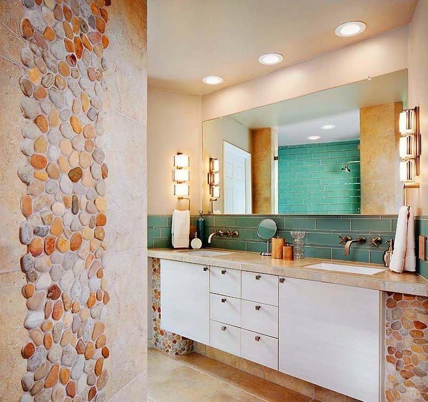 Мозаика из камня в интерьере ванной