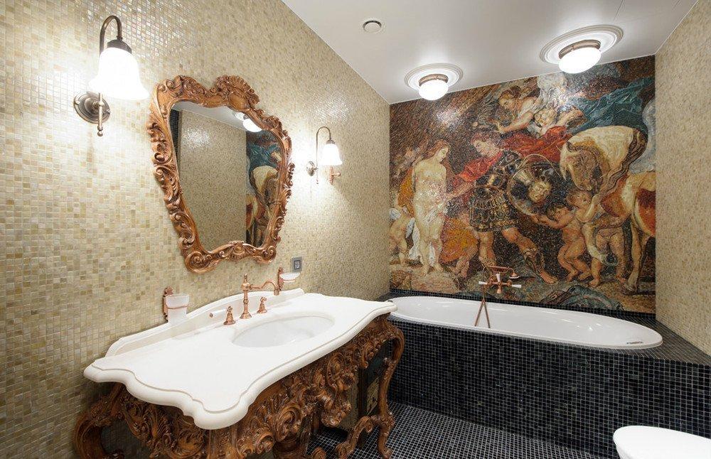 Рисунок из мозаики в ванной