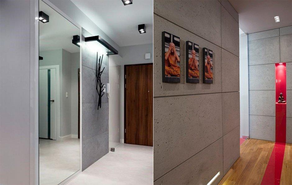 Декоративные вставки на стенах в прихожей