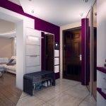 Сочетание белого и фиолетового цветов на стенах