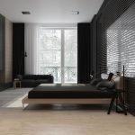 Черные шторы в серой спальне