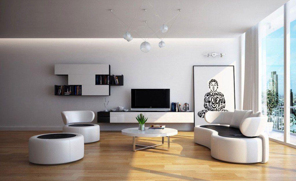 Modernes Wohnzimmer Am Abend
