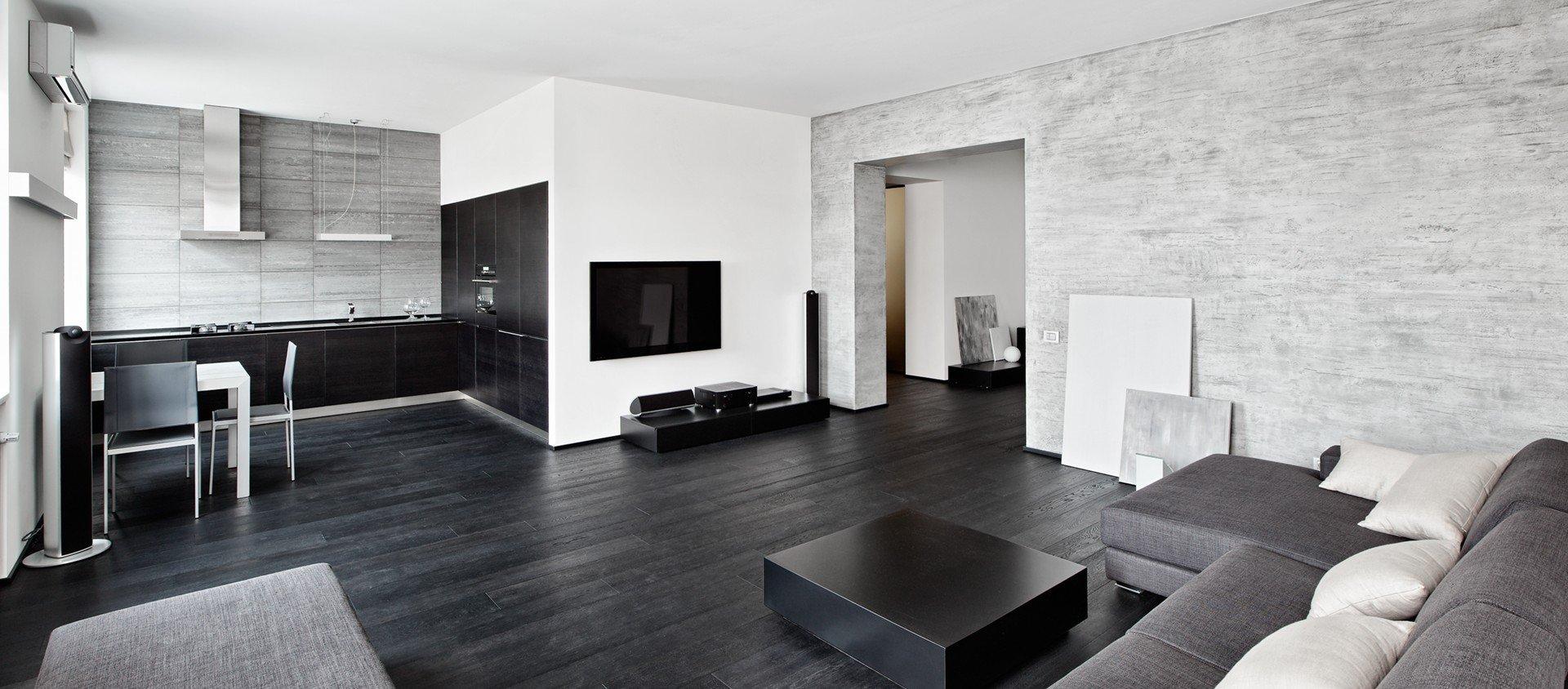 Черно-бело-серые стены в интерьере