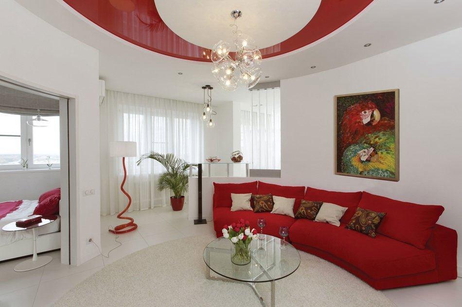 Гостиная в бело-красном цвете