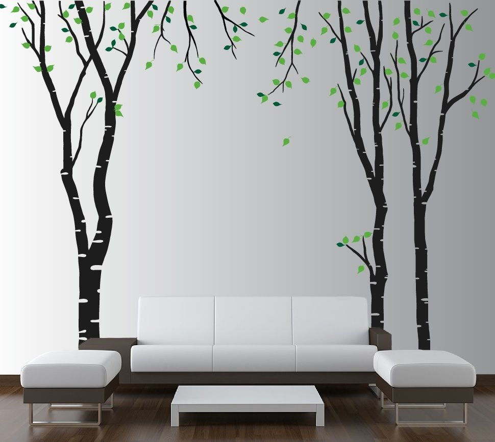 Трафареты деревьев в интерьере