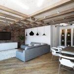 Гостиная с деревянным потолком и люстрами