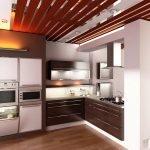 Потолок из реек в кухне