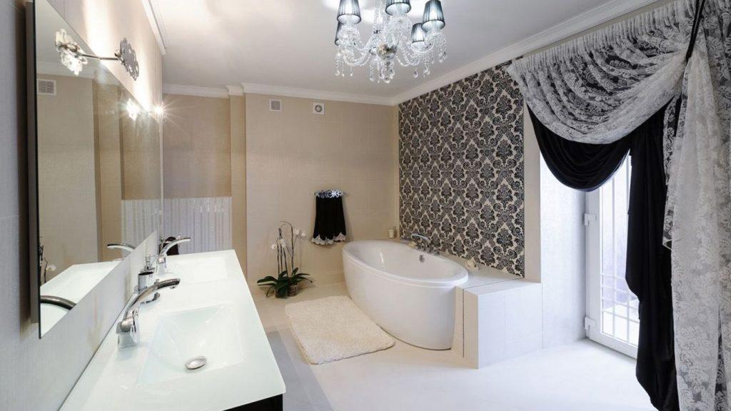 Декор черно-белой ванной комнаты