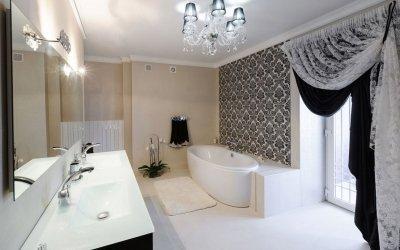 Дизайн черно-белой ванной комнаты + 75 фото