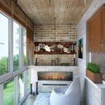 Декоративный камин на балконе