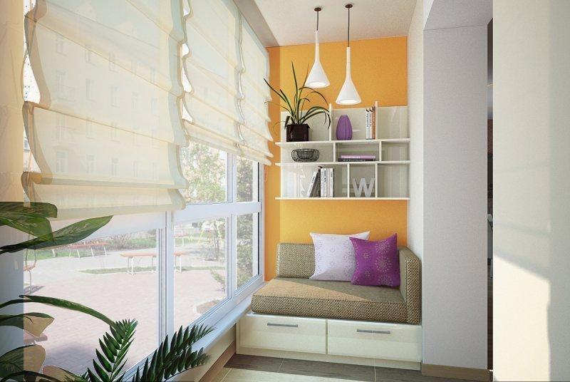 Современный интерьер маленького балкона