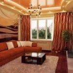 Терракотовый цвет в интерьере зала