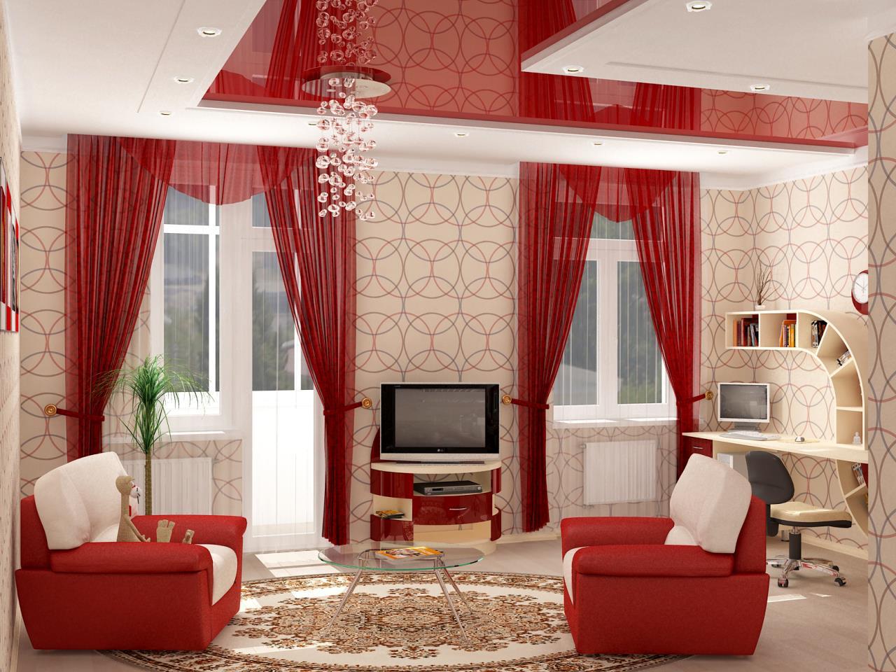 Яркий дизайн небольшой гостиной