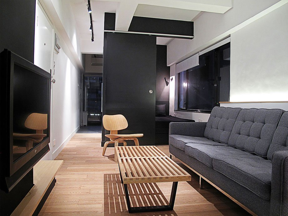 Черно-белые декор маленького зала