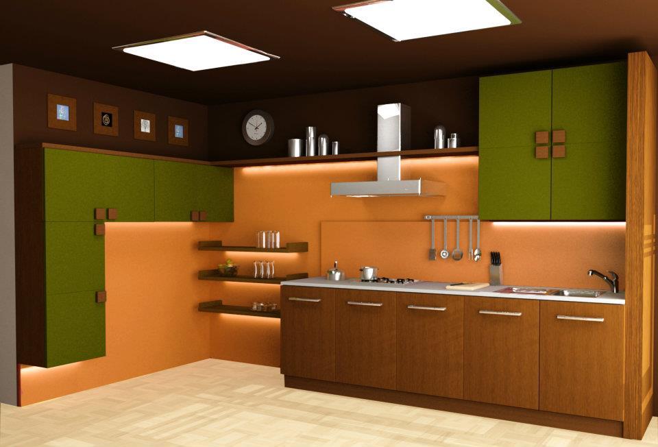 Коричневый потолок на кухне