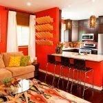 Кухня-гостиная в оранжевом цвете
