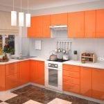 Простая кухня в оранжевом цвете