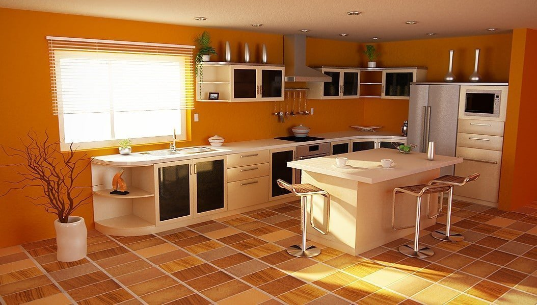 Просторная оранжевая кухня