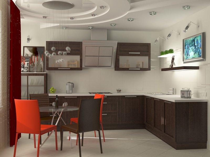 Декорирование кухонного потолка светильниками