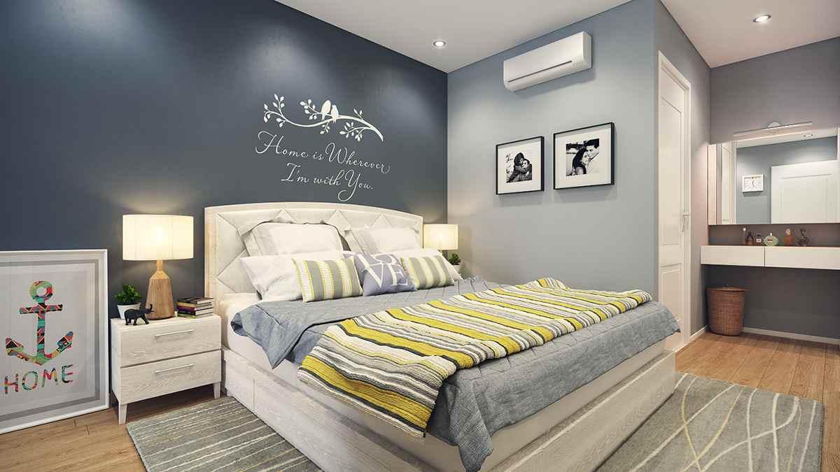 Серый интерьер спальни 16 кв. м.