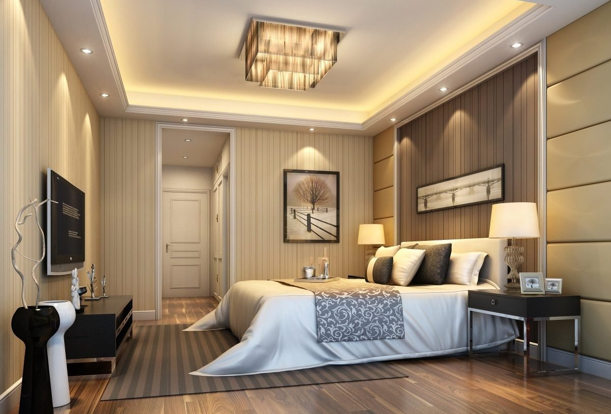 Яркое освещение в спальне