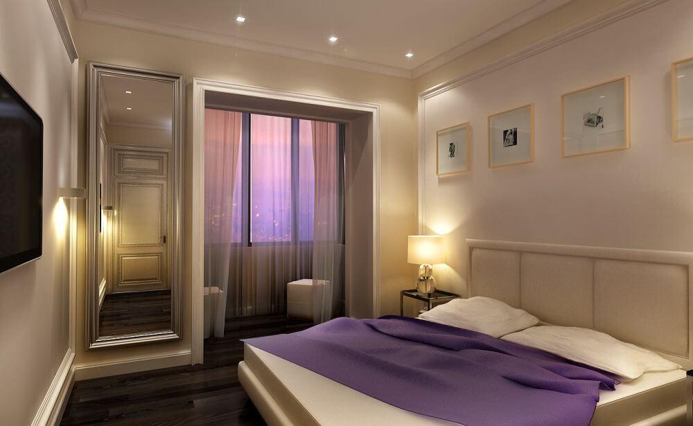 Фиолетовый текстиль в спальне
