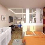 Зонирование спальни стеллажом