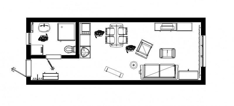 Планировка квартиры-студии 26 квадратов