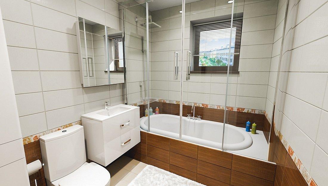 Современная ванная комната с квадратным окном