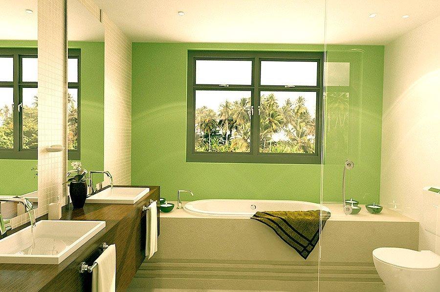Ванная с окном в зеленом дизайне