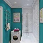 Бирюзовая плитка в ванной со стиральной машинкой
