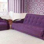 Низкий фиолетовый диван и кресло