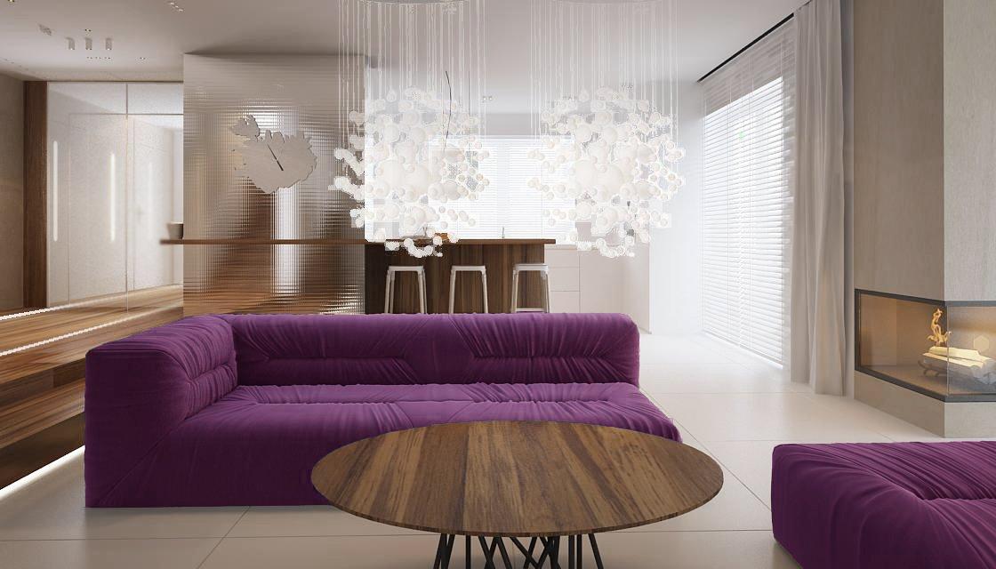 Сочетание дерева и фиолетового цвета в интерьере