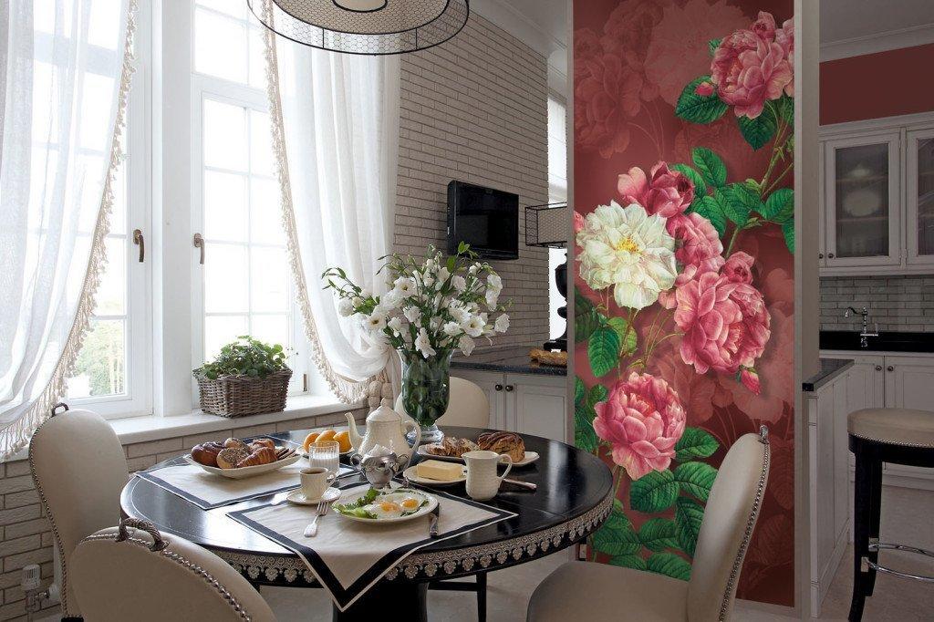 Фотообои розы на кухне