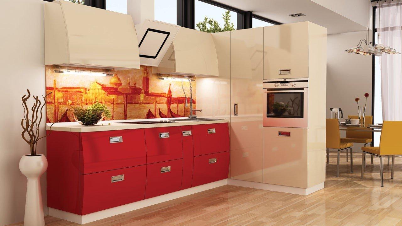 Бежево-красная кухня