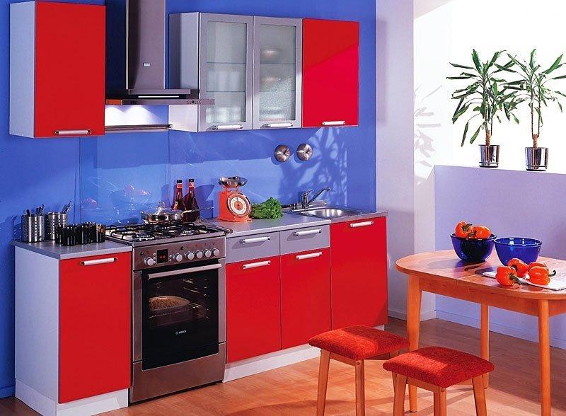 Сине-красная кухня